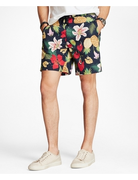 "Hybrid 7"" Floral Swim Trunks by Brooks Brothers"