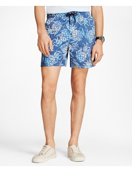 "Montauk 6"" Pineapple Swim Trunks by Brooks Brothers"