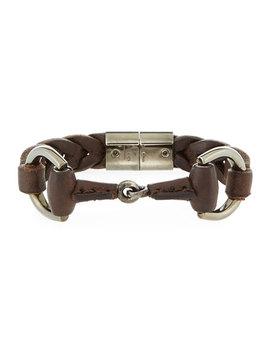 Men's Leather Horsebit Bracelet, Brown by Gucci