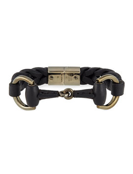 Leather Bracelet With Horsebit Detail, Black by Gucci