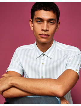 Vertical Stripe Cotton Blend Shirt by Ted Baker