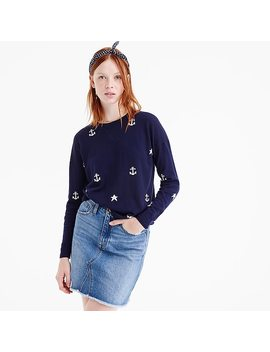 Merino Wool Crewneck Sweater In Anchors And Stars by J.Crew
