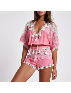 Pink Broderie Tassel Trim Beach Top                                  Pink Broderie Tassel Trim Beach Top                                    Pink Broderie Tassel Trim Beach Shorts                                    Pink Broderie Tassel Trim Beach Shorts by River Island