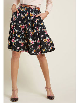 Bookstore's Best A Line Skirt In Noir Blossom Bookstore's Best A Line Skirt In Noir Blossom by Modcloth