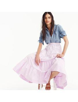 Tiered Midi Skirt In Cotton Poplin by J.Crew