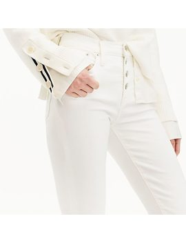 """9"""" High Rise Toothpick Jean In White With Button Fly by J.Crew"""