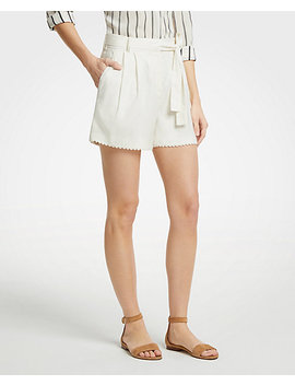 Scalloped Trim Tie Waist Shorts by Ann Taylor