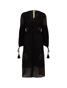 Black Embroidered Button Down Dress  Black Embroidered Button Down Dress by River Island