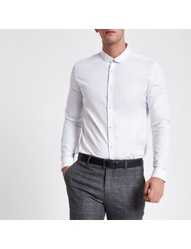 White Slim Fit Textured Long Sleeve Shirt                                  White Slim Fit Textured Long Sleeve Shirt by River Island