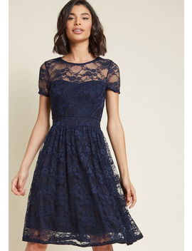 Classic Contributor Lace Dress In Navy Classic Contributor Lace Dress In Navy by Modcloth