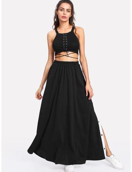 Stripe Contrast Button Side Skirt by Sheinside
