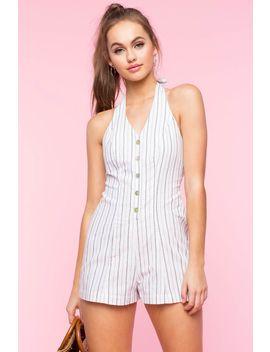 Button Front Stripe Linen Romper by A'gaci