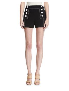 Sailor Mid Rise Button Shorts, Black by Derek Lam 10 Crosby