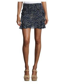 Ruffled Silk Mini Skirt, Navy by Derek Lam 10 Crosby