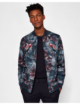 Embroidered Printed Bomber Jacket by Ted Baker
