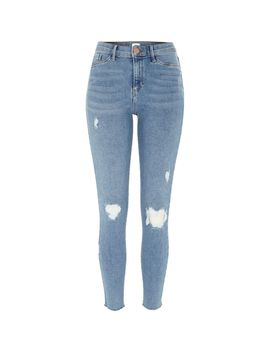 Mid Blue Molly Mid Rise Ripped Jeggings                                  Mid Blue Molly Mid Rise Ripped Jeggings by River Island