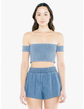 Denim Smocked Crop Top by American Apparel