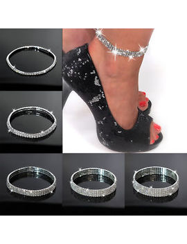 Silver  Stretchy 1 5 Rows Bracelet Anklet Ankle Chain Diamante Rhinestones by Ebay Seller