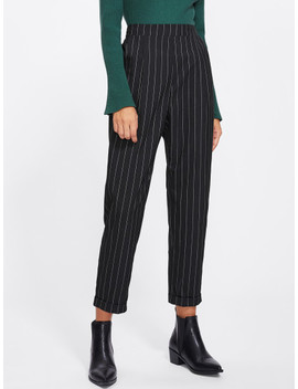 Cuffed Leg Pinstripe Peg Pants by Shein