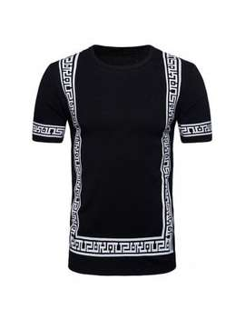 Short Sleeve Geometric Print Hip Hop T Shirt by Dress Lily