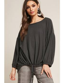 Fleece Knit Balloon Sleeve Top by Forever 21