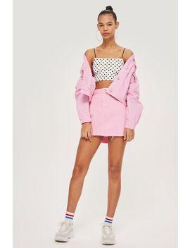 Bubblegum Pink Denim High Waisted Skirt by Topshop