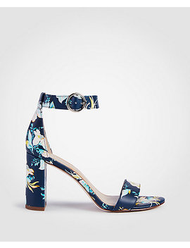 Leannette Floral Leather Block Heel Sandals by Ann Taylor