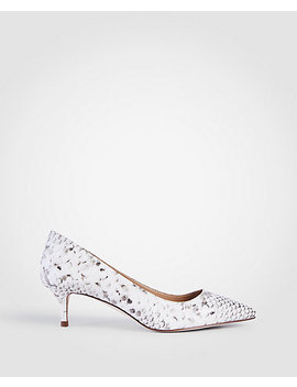 Reese Exotic Embossed Leather Pumps by Ann Taylor
