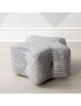 Silver Star Pouf by Crate&Barrel