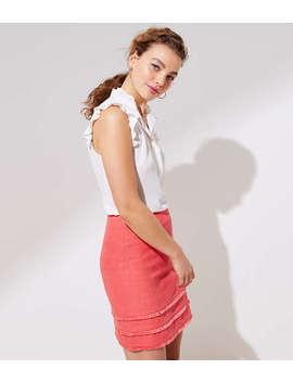 Petite Tiered Fringe Shift Skirt by Loft