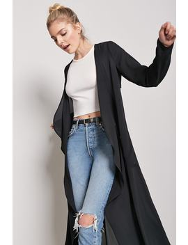 Draped Open Front Longline Jacket by Forever 21