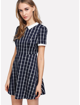 Contrast Collar Plaid Fitted & Flared Dress by Shein