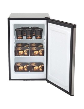 2.1 Cu. Ft. Energy Star Stainless Steel Upright Freezer With Lock   Black, Stainless Steel by Whynter