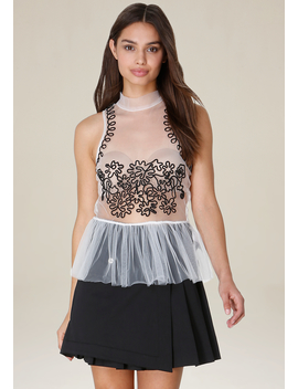 Tulle &Amp; Soutache Peplum Top by Bebe