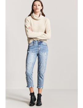 Embellished Straight Leg Jeans by Forever 21