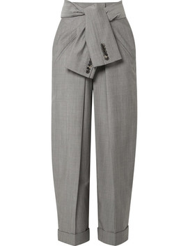 Tie Front Wool And Mohair Blend Tapered Pants by Alexander Wang