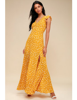 Fresh Picked Mustard Yellow Floral Print Backless Maxi Dress by Lulus