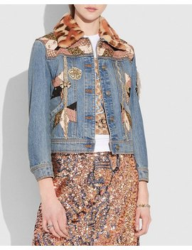 Embellished Quilted Patchwork Denim Jacket by Coach