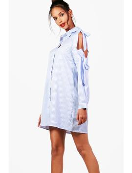 Beth Bow Tie Cold Shoulder Shirt Dress by Boohoo