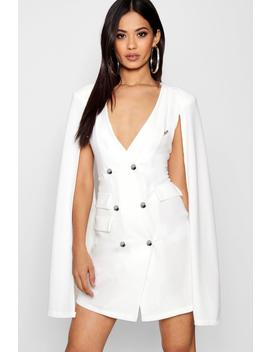 Harper Double Breasted Cape Sleeve Tux Dress by Boohoo