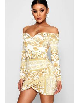 June Scarf Print Off The Shoulder Wrap Dress by Boohoo