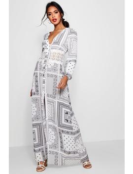 Iyan Crochet Insert Button Scarf Print Maxi Dress by Boohoo