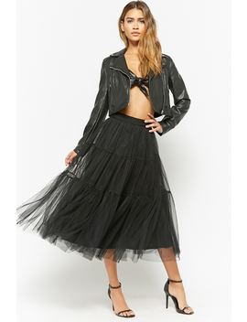 Tiered Tulle Midi Skirt by Forever 21
