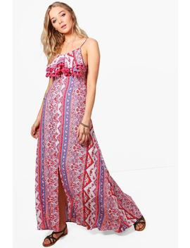 Bianca Paisley Split Front Tassel Maxi Dress by Boohoo