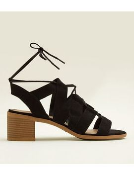 Teens Black Suedette Block Heel Gladiator Sandals by New Look