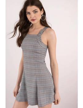 Plaid Influence Grey Multi A Line Dress by Tobi