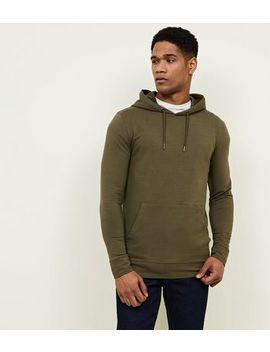 Khaki Muscle Fit Hoodie by New Look