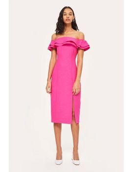Ruffle Detail Bardot Dress by Topshop