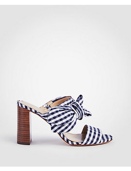 Oriana Gingham Bow Block Heel Sandals by Ann Taylor