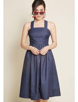 Louche Surely Alluring Midi Dress In Chambray Louche Surely Alluring Midi Dress In Chambray by Louche